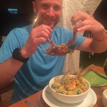 Jeff delighted to find a whole crab in his supper