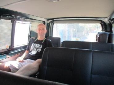 An empty shuttle van: pure luxury.