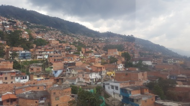 Medellin hillside neighborhood, as viewed from the cable car