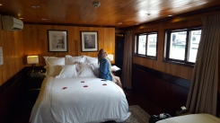 In our cabin aboard the Aphrodite. I know, I know, I'm such a lush
