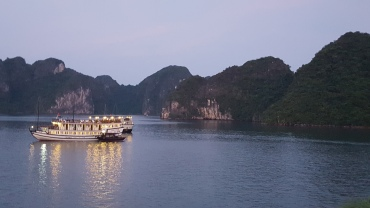 Evening setting in on Ha Long Bay