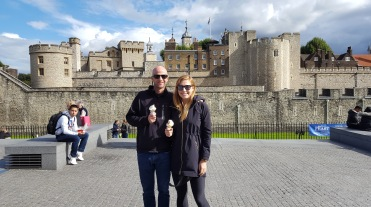 Enjoying some ice cream outside the Tower of London