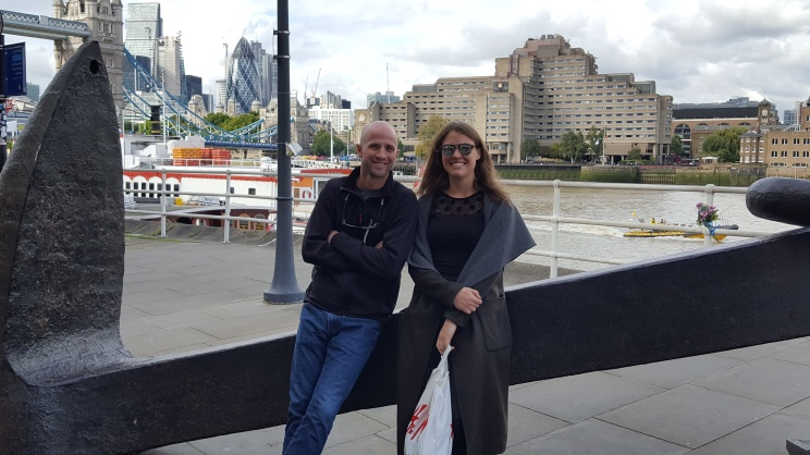 Jeff and Laura, relaxing on a giant anchor overlooking the Thames